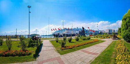 Samsun / Turkey - August 09 2019: Panoramic city view with ship called Bandirma