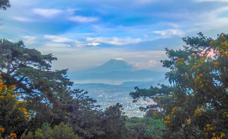 The City of San Salvador and The San Vicente volcano from El Boqueron look out