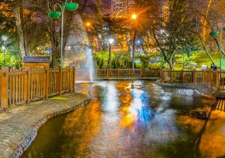Reflection in the pond in Kugulu Park, Ankara, Turkey.