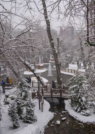 Ankara/Turkey-December 06 2019: Kugulu Park is a popular place to enjoy the day. Kugulu park under snow in winter