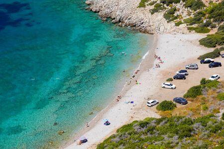 Mugla/Turkey - August 18 2018: People enjoy Datca Aquarium Cove