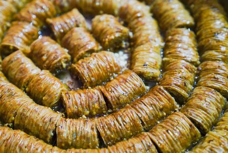 Burma Baklava Dessert  in tray. Traditional Turkish dessert. 版權商用圖片