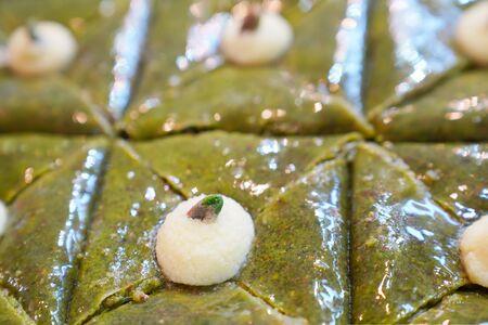 Envelop shaped Baklava with pistachio, Turkish traditional dessert