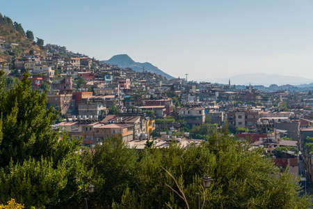 Hatay/Turkey- September 13 2020: Panoramic view of the city of Hatay from the hill where St. Pierre Church is located Editorial
