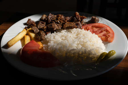 Turkish meat with rice (Kavurmali pilav in Turkish) Banco de Imagens