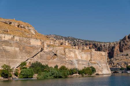 Abandoned stone houses on cliffs near the Euphrates River, Halfeti, Sanliurfa Province of Turkey
