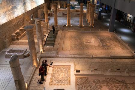 Gaziantep, Turkey-September 14 2020: Interior view of Zeugma Mosaic Museum with tourists