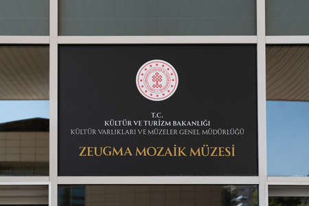 Gaziantep, Turkey-September 14 2020: The sign of Zeugma mosaic museum in Turkish at the entrance. 에디토리얼