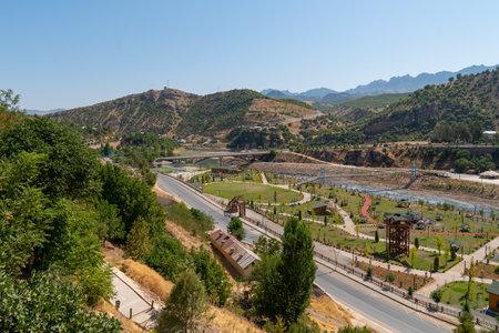 Tunceli, Turkey-September 18 2020: Tunceli city with Munzur river