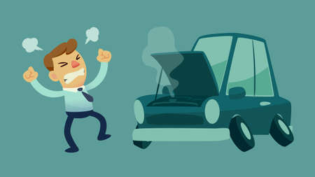 damaged: businessman get frustrated because his car broken down on the way to work Illustration
