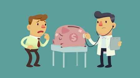 cartoon businessman: businessman take his sick piggy bank to the doctor Illustration