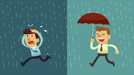 lluvia paraguas: empresario correr de la lluvia, mientras que otro hombre de negocios tiene el paraguas