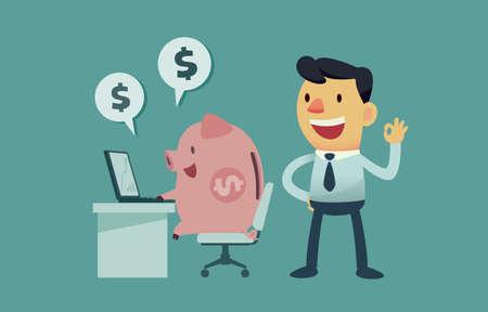 businessman let his piggy bank do the work for him Illustration