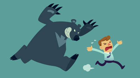 stocks: businessman run away from bear(market) Illustration