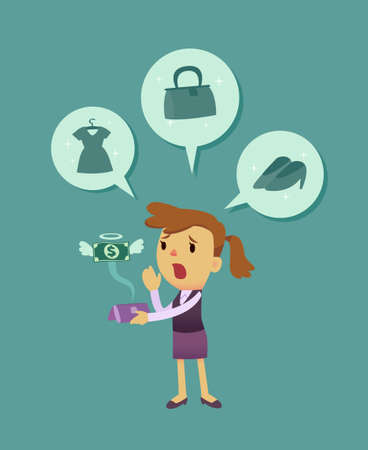 businesswomen shopping too much she run out of money  イラスト・ベクター素材