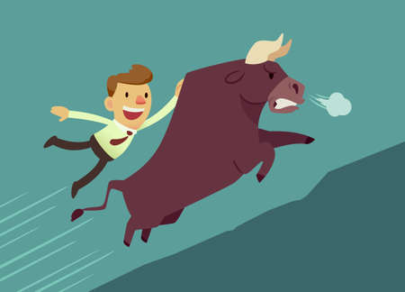 happy employee: businessman hang on bull(market) running up hill