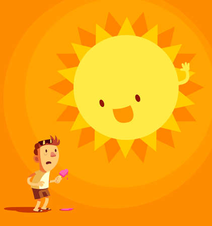 you will feel the sun is really close to you when it's summer Illustration