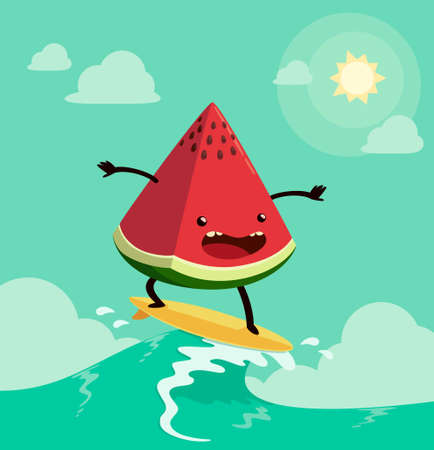 surfing: watermelon on surf board. One of the popular summers activities Illustration