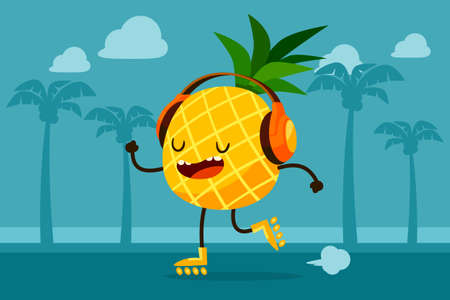 beach illustration: Illustration of pineapple on roller skates listen to music at the beach