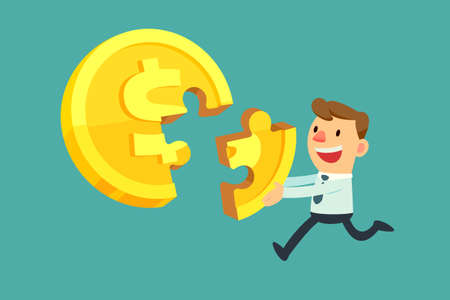 Illustration of business man put a coin shaped jigsaw piece together. Illustration