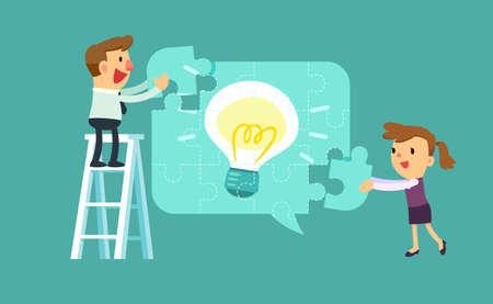ビジネスマンおよび女性の図は、光 bulbidea パズルを解く互いを助けます。