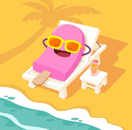 strandstoel: Illustratie van ijs stok zonnebaden op een wit strand stoel op het strand