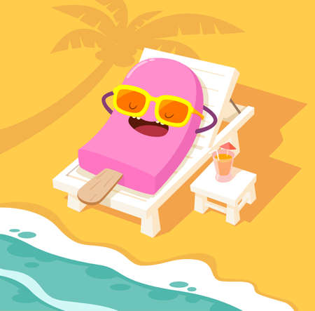 Illustration of ice cream stick sunbathing on a white beach chair at the beach