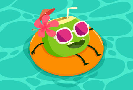 cartoon party: Illustration of coconut drink on the rubber tube relaxing in the pool. Illustration