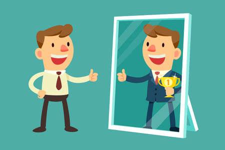 uomo felice: Illustrazione di uomo d'affari vedersi avere successo in uno specchio