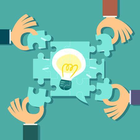 Illustration of 4 hands help solve idea bulb jigsaw puzzle