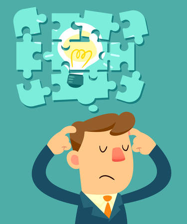 Illustration os businessman try to put idea bulb jigsaw pieces together Vettoriali