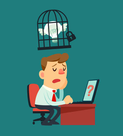 solve problem: Illustration of businessman cannot solve problem because his idea bulb locked in a cage