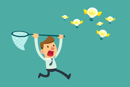 Illustration of businessman try to catch flying idea bulb with a net Vettoriali