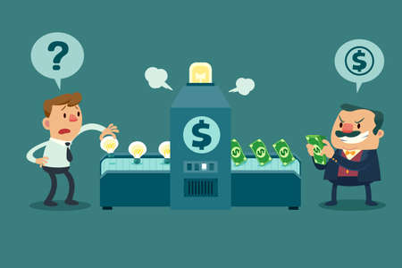 Illustration of employee put his idea bulb in a machine but his boss get all money