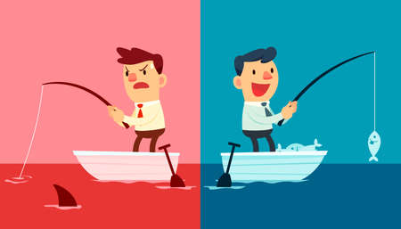 estrategia: Ilustraci�n de dos hombres de negocios. Una pesca en el oc�ano rojo y el otro en el oc�ano azul