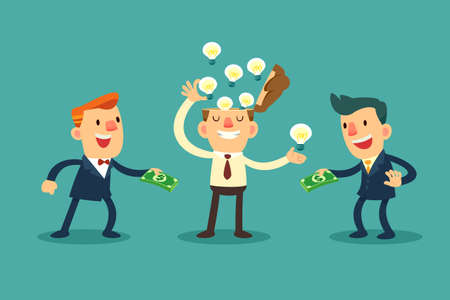 Illustration of businessman sell his idea bulbs to another