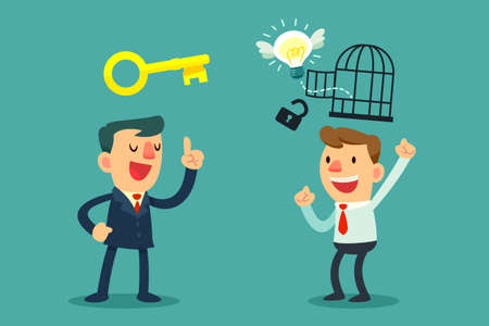 Illustration of successful businessman with golden key help unlock idea bulb from a cage