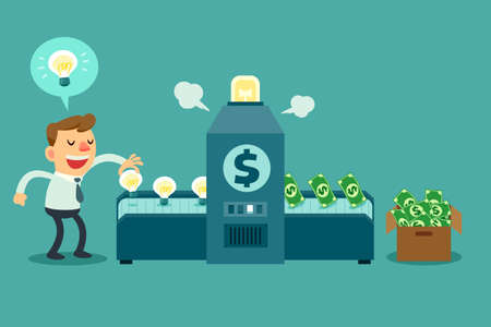 Illustration of businessman put idea bulbs in a machine and turn it into money Vectores