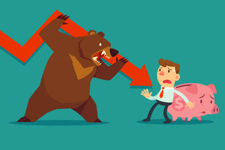 Illustration of businessman try to protect his piggy bank from bear market trend