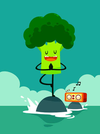 Illustration of broccoli do yoga in the sea listen to music Illustration
