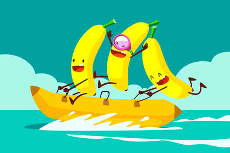 Illustration of tree bananas riding banana boat in the sea