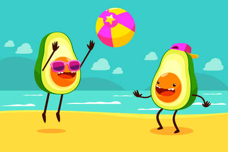 Illustration of two avocados playing ball at  the beach. Illustration