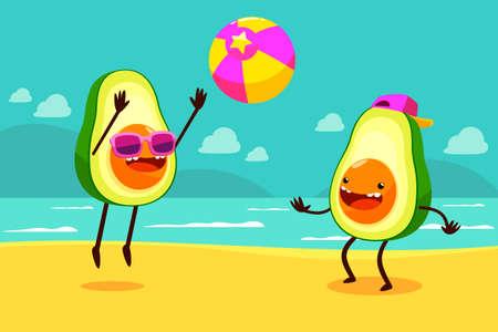 aguacate: Ilustraci�n de dos aguacates jugando a la pelota en la playa.
