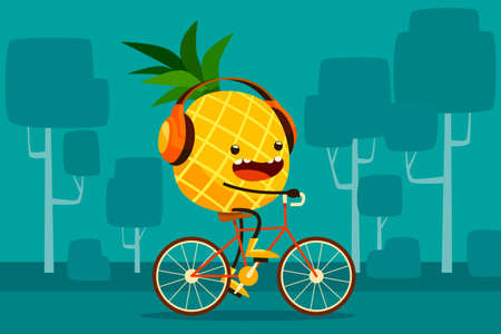 pineapples: Illustration of pineapple riding bicycle in the park listen to music