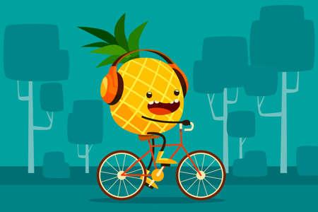 frutas divertidas: Ilustración de la bicicleta a caballo piña en el parque escuchar música Vectores