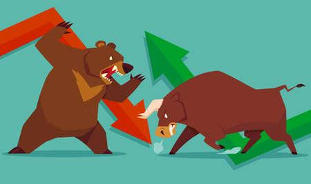 경향: 주식 시장 동향의 곰 상징 대 황소의 그림