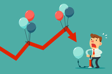 Illustration of businessman pumping balloon to help falling graph Stock Illustratie