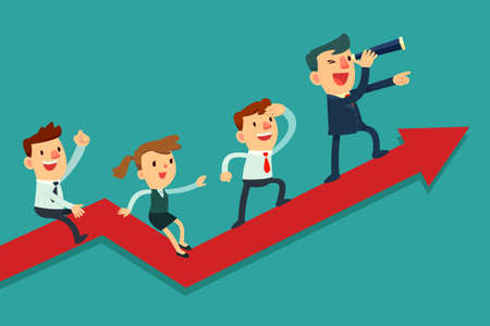 teamwork cartoon: Illustration of team of businessman on arrow graph. Team leader has telescope and leading his team to success