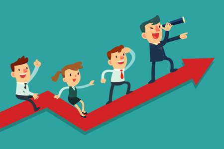 úspěšný: Ilustrace týmu podnikatel na šipky grafu. Vedoucí týmu má dalekohled a vede svůj tým k úspěchu