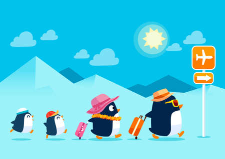 family vacations: Illustration of penguin family traveling on summer vacation